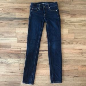 American eagle super skinny stretch 00 jeans denim